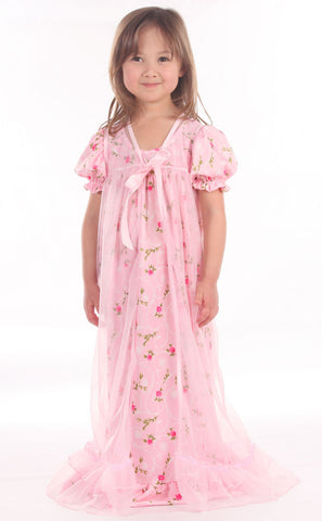 Laura Dare Sweet Rose Peignor Nightgown Set sz 12 only
