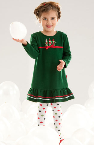Le Top Jolly Little Elves Holiday Christmas Sweater Dress with Flounce sz 6x