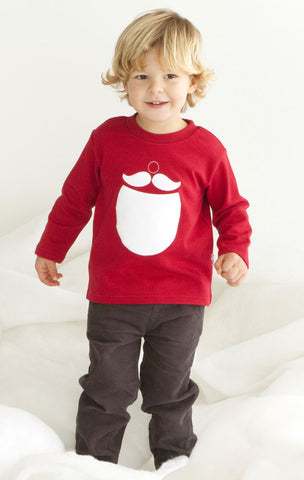 Le Top Santa's Mustache & Beard Holiday Christmas Long Sleeve Top sz 4 only