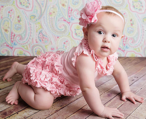 Lemon Loves Lime Rula Romper in Pink for Babies