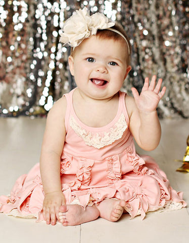 Lemon Loves Lime Dancing Bows Dress in Creole Pink for Babies
