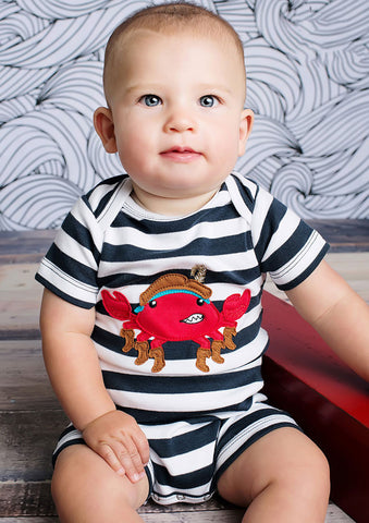Lemon Loves Lime Captain Crab Romper for Baby Boys sz 6/12 mos only