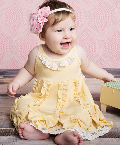 Lemon Loves Lime Dancing Bows Dress in Double Cream for Babies sz 18/24 only