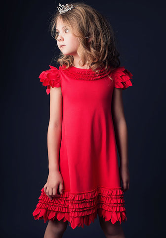 Lemon Loves Lime Feather Swing Dress in Poinsettia Red sz 3 & 4 only