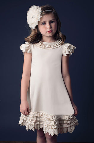 Lemon Loves Lime Feather Swing Dress in Eggnog Cream sz 6 & 8 only