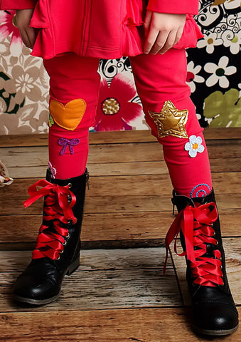 Lemon Loves Lime Fun Patch Leggings in Poinsettia Red