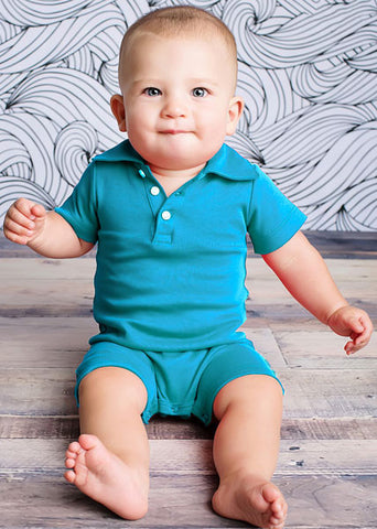 Lemon Loves Lime Polo Peter Romper for Baby Boys