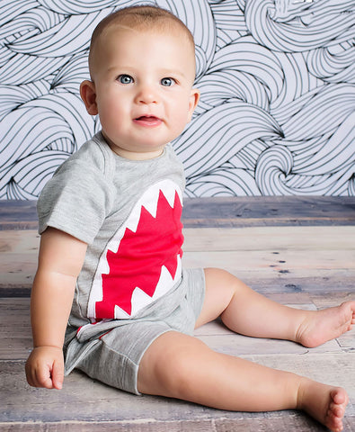 Lemon Loves Lime Shark Bite Romper for Baby Boys