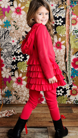 Lemon Loves Lime Princess Jacket in Poinsettia Red sz 4