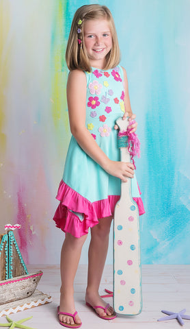 Lemon Loves Lime Full Bloom Dress in Aqua Blue sz 4 only