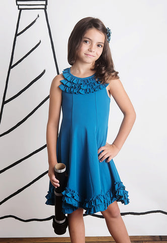 Lemon Loves Lime Summer Fest Dress in Seaport Blue