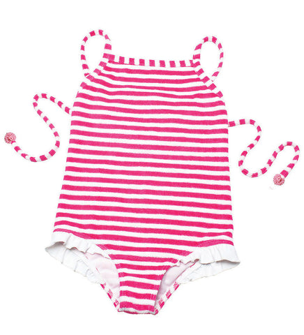 Lilotati Pink Stripe Terry Swimsuit sz 3 & 8