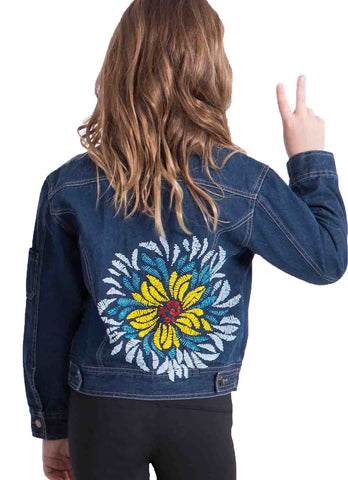 Limeapple Denim Jacket with Flower Beading sz 4 & 5 only