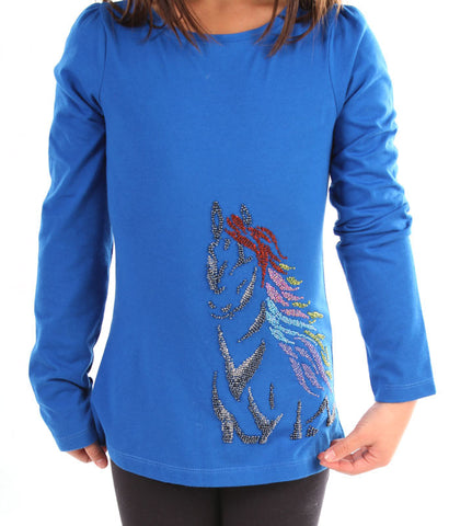 Limeapple Long Sleeve Stretch Top with Beautiful Beaded Horse sz 4 & 6 only