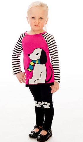 Limeapple L/S Puppy Top and Pawprint Legging Set