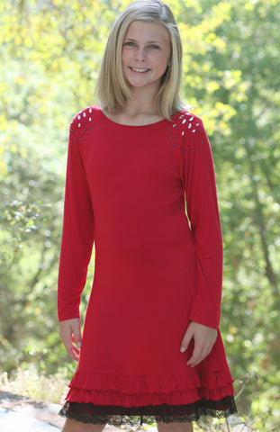 Limeapple Red Ruffled Stretch Dress with Jeweled Shoulders sz 10 only