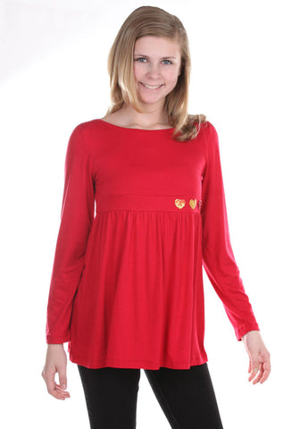 Limeapple Red Baby Doll Top with Tiny Sequin Hearts sz 4 & 10/12 only