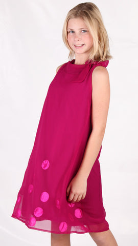 Royal Couture by Limeapple Fuchsia Chiffon Trapeze Valencia Dress sz 4 & 5 & 6