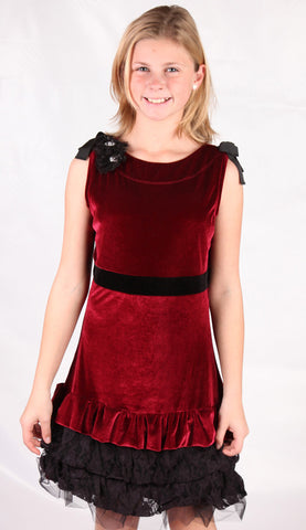 Royal Couture by Limeapple Burgundy Velvet & Lace Verona Dress sz 5 & 7  only