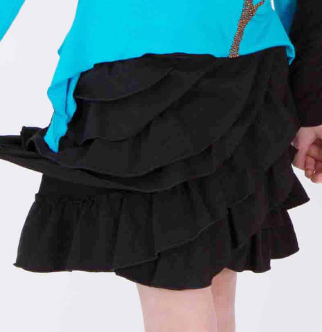 Limeapple Black Stretch Ruffle Skirt