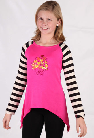 Limeapple Asymmetrical Top with Heart Bouquet Beading sz 4 & 5