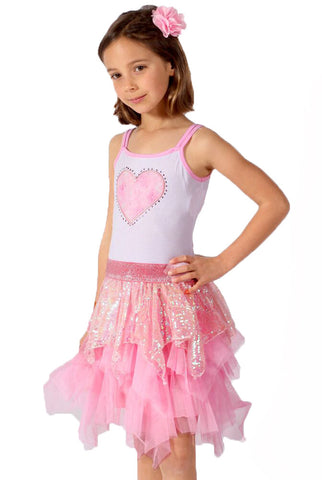 Lipstik Heart Tank Dress with Sequin Ruffle sz 6x