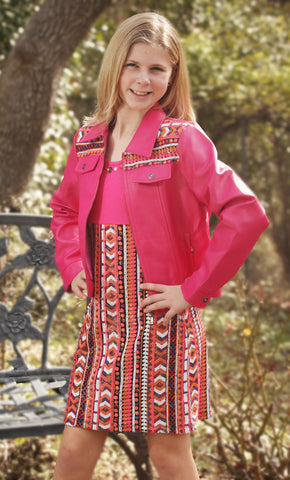 Lipstik Mini Chevron Pleather Suit Jacket or Dress with Seed Sequins for Tweens