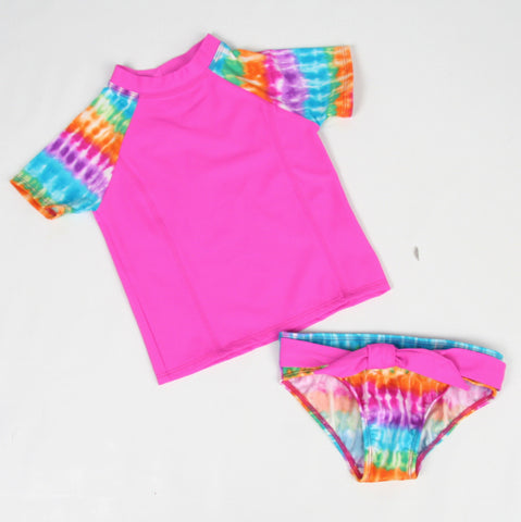 Little Sea Gems Magenta Tie Dye Rash Guard Set sz 4 only