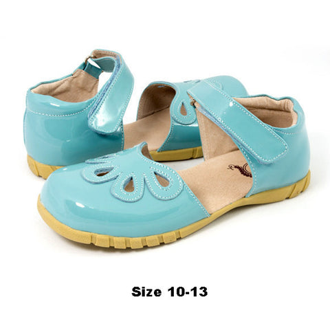 Livie and Luca Sky Blue Patent Petals Shoes sz 11  only