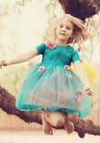 Love Jay Girls Lynn Dress in Teal and Coral sz 6 only