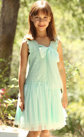 Maeli Rose Crochet & Tulle Two Way Dress with Flowing Bow in Frozen Aqua