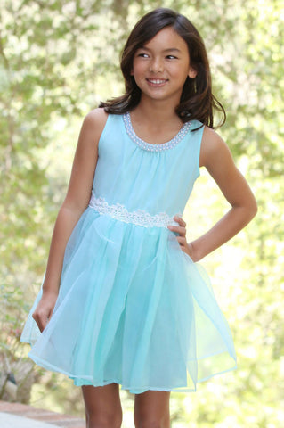 Maeli Rose Pearl Necklace Dress in Aqua Blue
