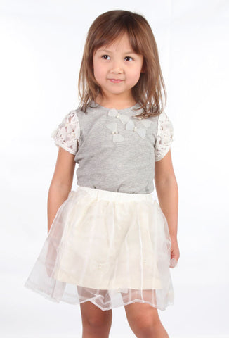 Maeli Rose Heathered Grey Top with Lace Sleeves and Bows