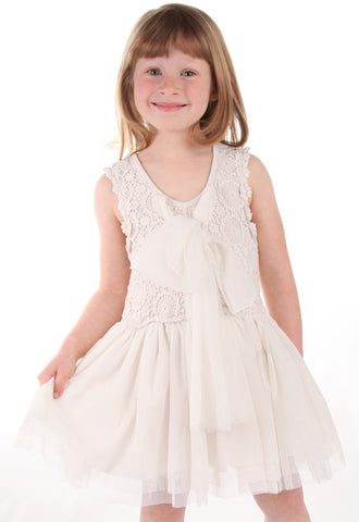 Maeli Rose Crochet & Tulle Two Way Dress w/Flowing Bow in Ivory sz 18/24m & 7 & 8 only