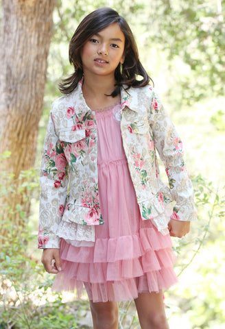 Maeli Rose Stretch Denim Floral Jacket (Amazing!)