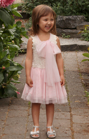 Maeli Rose Crochet & Tulle Two Way Dress with Flowing Bow in Pink sz 3T only