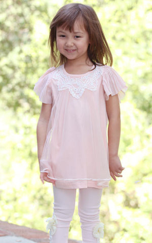 Maeli Rose Lace Angel Top with Pleated Flutter Sleeves in Soft Pink
