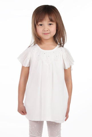Maeli Rose Lace Angel Top with Pleated Flutter Sleeves in White