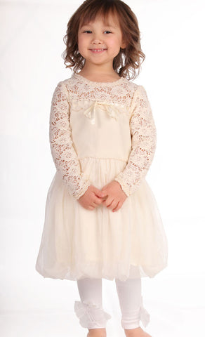 Maeli Rose Vintage Lace Crochet Yoke Bubble Dress in Ivory