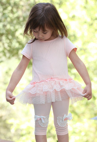 Maeli Rose Dotted Lace Tunic & Crochet Knee Patch Leggings Set sz 2T 3T & 4T
