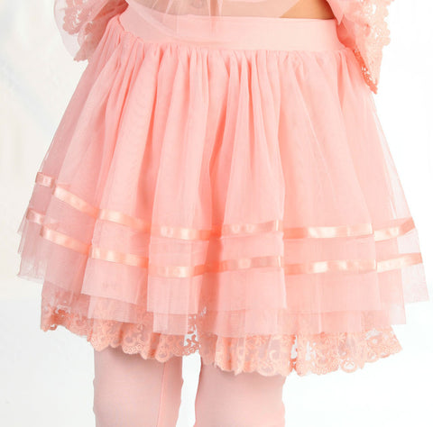 Maeli Rose Daisy Lace Tulle Ribbon Skirt in Peachy Pink
