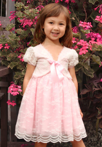 Maeli Rose Floral Lace Tank Dress & Ribbon Shrug Set in Pink