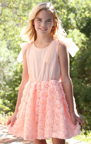Maeli Rose Bubble Dress with Shoulder Ties in Peach Roses