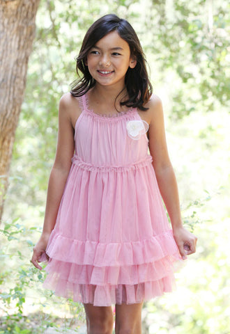 Maeli Rose Tulle Princess Dress with Organza Flower Pin