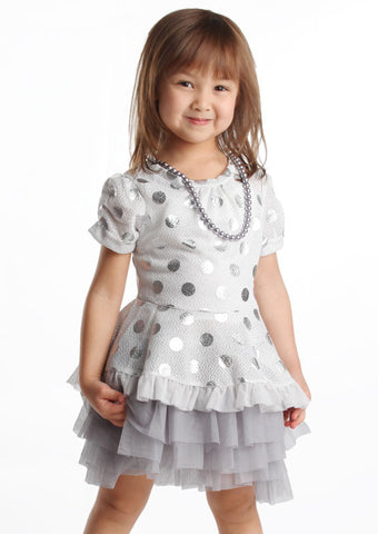 Maeli Rose Silver Polka Dot Peplum Blouse with Pearl Necklace with Camisole