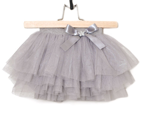 Maeli Rose Silver Tutu Skirt with Shorts sz 4 only