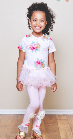 Maeli Rose Summer Rose and Dot Top with Curly Edge Tulle