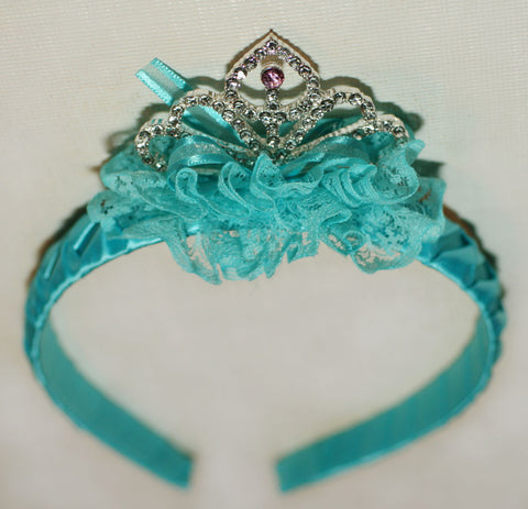 Maeli Rose Tiara Headband in Frozen Blue
