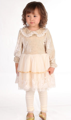 Maeli Rose Velvet and Lace Antique Dress 12/18m & 4T