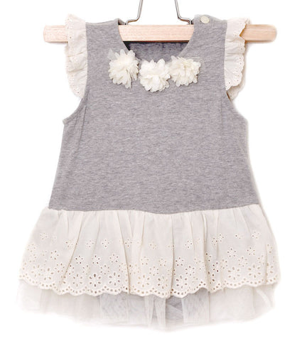 Maeli Rose Heathered Grey Onesie with Eyelet Skirt for Babies
